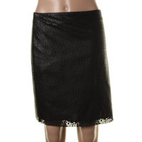 Vince Camuto Womens Faux Leather Cut Out Mini Skirt