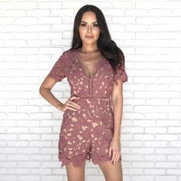 Crafted Floral Crochet Romper in Mauve