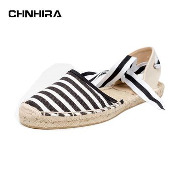 Canvas Espadrille Women Flats Ankle Strap Hemp Bottom Fisherman Shoes For 2017 Spring/