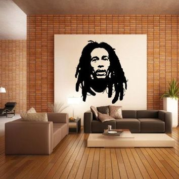 Bob Marley Wall Decal sticker vinyl decor mural bedroom kitchen reggae music jah Boy's bedroom Home Decor Plus size D290