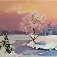 Original textured oil painting by Viktoriya Sirris Frosty Silence canvas art pallet knife technic  winter landscape holiday birthday gift
