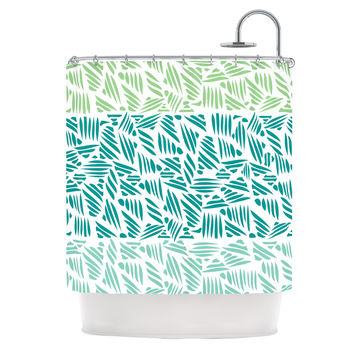 "Pom Graphic Design ""Bamboo"" Teal Green Shower Curtain"