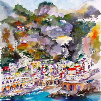 Amalfi Coast ATRANI Italy Watercolor and Ink by Ginette