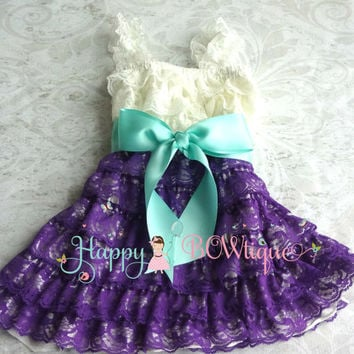 Flower girl dress- Purple Ivory Aqua Bow Lace Dress, baby girl dress,Rustic wedding dress,baby dress,flower girl dress,Purple dress,Birthday