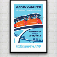 Vintage Peoplemover Tomorrowland Disneyland Attraction Poster Reprint -- Not Framed 18x24 - Buy 2 Get 1 Free!