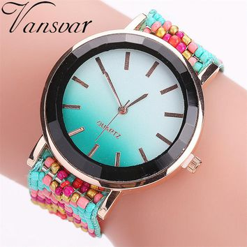 Hot Selling Vansvar Fashion Handmade Braided Watch Casual Women Wrist Watches Luxury Ladies Quartz Watches Relogio Feminino 2115