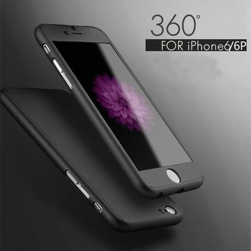 Ultra Thin Full Body Coverage Protection Hard Slim iPhone 6 Case with Tempered Glass Screen Protector for Apple iPhone 6 6S 4.7""
