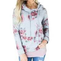 Floral Print Sweat Shirt Hooded Pullover