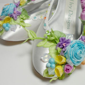 Faerie Bride' Shoes, Princess Ballet Slippers Weddings Flower Girl Dance Costume, Bollywood ,Fairytale Shoes