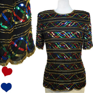 Top Vintage 80s SEQUIN Rainbow Beaded Black Silk Top S M Party TROPHY Short Sleeves