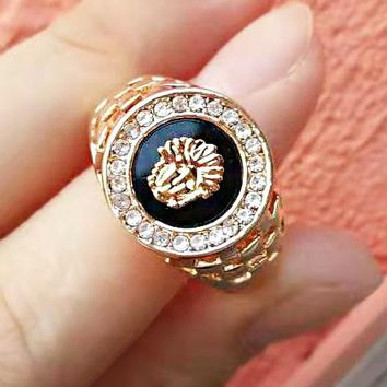 Versace Classic Popular Women Men Retro Personality Medusa Plated Ring Jewelry