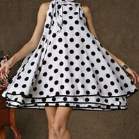 Bow Tie Collar Polka Dot Layered Dress
