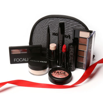Focallure 8 Pieces gift Makeup Kit All in One Makeup Kit for Gift Personal Use Including Eyeshadow Lipstick Blush