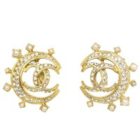 Chanel Goldtone and Crystal CC Moon Earrings