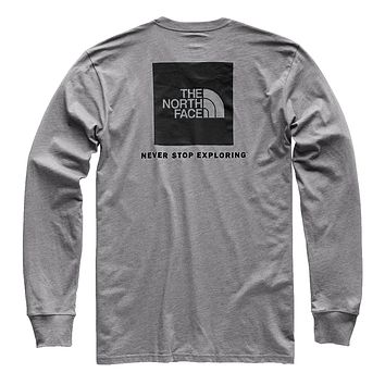 Men's Long Sleeve Red Box Tee in Medium Grey Heather & Black by The North Face