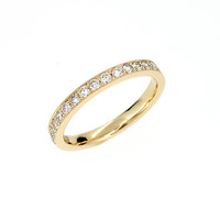 SIZE 4.75, Diamond half eternity wedding ring with milgrain details, unique, yellow gold wedding ring, diamond band, anniversary, pave ring