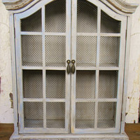 Curio Cabinet, Display Cabinet, Storage Cabinet, French Country Cabinet, French Country Decor, Shabby Cottage, Wall Cabinet, Vintage Cabinet