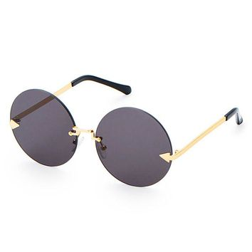 Rimless Black and Gold Sunglasses