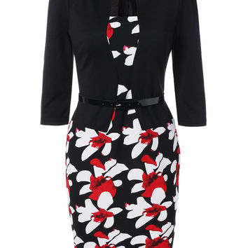 Belted Flower Print Blazer Adorn Pencil Dress