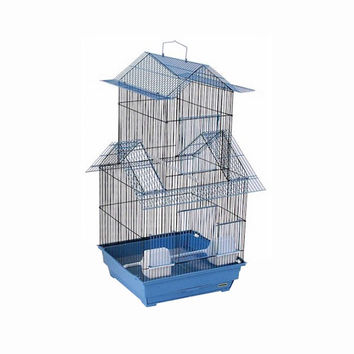 Prevue Hendryx Bejing Double Roof, 2 Large Front Door Bird Cage For Parakeets, Cockatiels And Other Small - Medium Birds - Blue