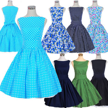 woman dresses 100%Cotton 50s 60s swing vintage dress Pinpu polka dot dress causal print rockabilly retro dress 5ColsJD103 Alternative Measures - Brides & Bridesmaids - Wedding, Bridal, Prom, Formal Gown