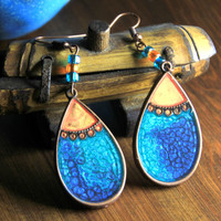 Dramatic Earrings Carribean Blue and Copper