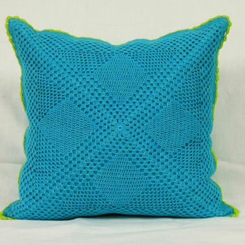 Diamond CROCHET CUSHION COVER -Handmade- Home Decor Cushion Cover - Throw Pillow - Decorative Pillow - 2015 trends - Turquoise Blue Color