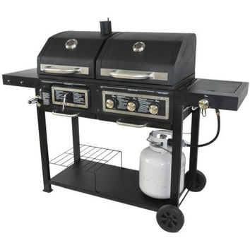 Portable Backyard Dual Fuel Gas Charcoal Grill with Storage Patio BBQ Barbeque Grill