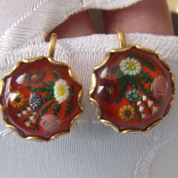 Pretty 1940s Glass Floral Earrings Screw Back Vintage Red Forties Earrings Hand Painted Enamel Floral Spray Motif Mother's Day Flowers
