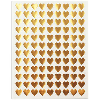 Mini Gold Heart Stickers