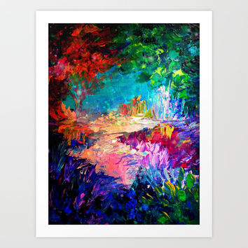 WELCOME TO UTOPIA Bold Rainbow Multicolor Abstract Painting Forest Nature Whimsical Fantasy Fine Art Art Print by EbiEmporium