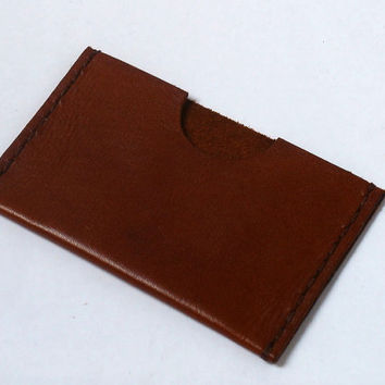 Leather card holder, minimalist wallet, mid brown, Oyster card holder, hand sewn