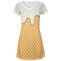 Melting Vanilla Ice Cream Cone All Over Juniors Beach Cover-Up Dress