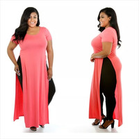 Plus Size Maxi Side Split Dress