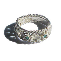 Sterling Silver Irish Emerald and Clover Eternity Style Ring