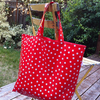 Oilcloth Tote Bag Red with White Polka Dots