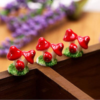 Cute Mini Resin Mushrooms Fairy Garden Ornament Miniature Bonsai Plants Pots Fairy DIY Doll House Decoration 4 Colors