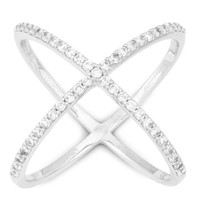 925 Sterling Silver Criss Cross 'X' with Cubic Zirconia Stones Ring