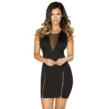 Sexy Carly Mini Dress with Sheer V Neck Panel and Zipper Detail