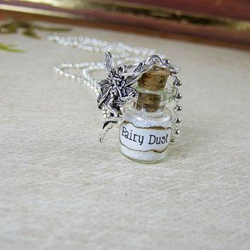 Fairy Dust 0.5ml Glass Bottle Necklace - Glass Vial Pendant - Fairy Dust Charm Pixies Fairy Tale Glitter