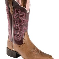 Ariat Quickdraw Plum Fancy Stitched Cowgirl Boots - Square Toe - Sheplers