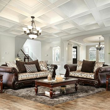 Furniture of america SM6406 2 pc alessio collection brown fabric sofa and love seat set with wood trim