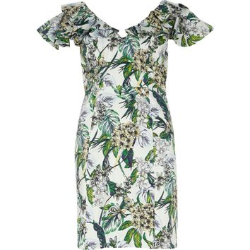 Cream floral frill bodycon mini dress - Bodycon Dresses - Dresses - women