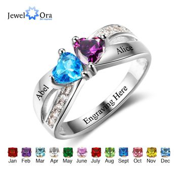 Promise Rings Personalized Jewelry Engrave Name Custom Birthstone Ring 925 Sterling Silver Rings For Women(JewelOra RI102504)