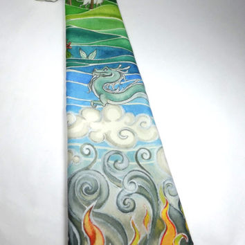 Elemental spirits tie fairy tales and myths neck tie