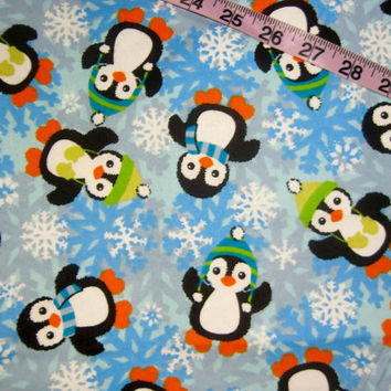 Christmas Flannel fabric with penuins in hat and scarf snowflakes winter quilt cotton quilting sewing material by the yard BTY 1yd crafts