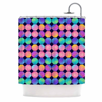 "Noonday Design ""Colorful Watercolor Octagons"" Watercolor Abstract Shower Curtain"