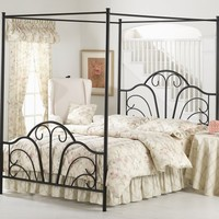 Hillsdale Furniture 348BFPR Dover Canopy Bed Set with Rails and Legs, Textured Black