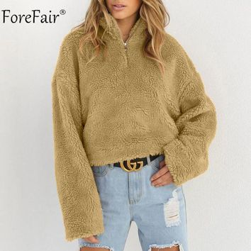 Forefair Casual Fleece Jacket Women Autumn 2018 Long Sleeve Casual Pullover Winter Women Faux Fur Coat
