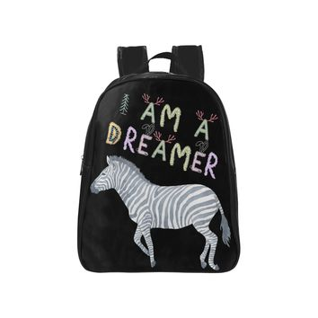 I Am A Dreamer Zebra Children School Backpack